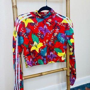 Adidas women's medium long sleeve red floral top